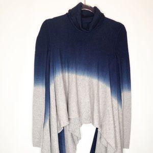RARE Bcbg turtleneck sweater drape bottom ombré xs